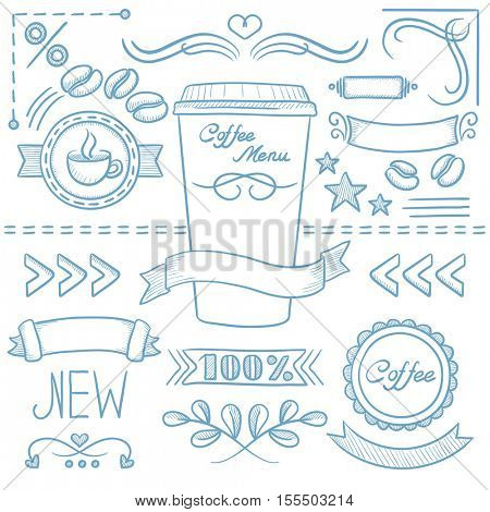 Set of vintage labels, ribbons, frames, banners, logo and advertisements for coffee menu board for restaurant and coffee shop. Hand drawn vector sketch illustration on white background.