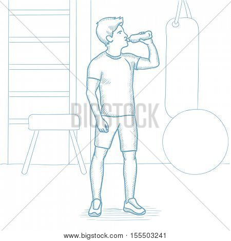 Sportive caucasian man drinking water in the gym. Sportsman drinking water in the fitness center. Sportsman with bottle of water in the gym. Hand drawn vector sketch illustration on white background.