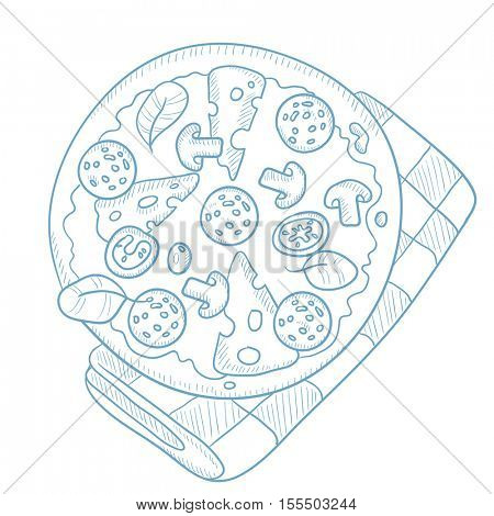 Delicious pizza with salami, mushrooms and olives. Pizza with salami, mushrooms and olives hand drawn on white background. Pizza with salami sketch illustration. Pizza vector illustration.