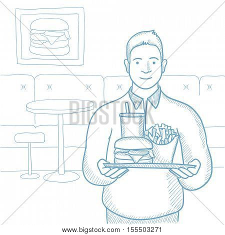 Plump young man holding tray full of fast food. Smiling man in fast food restaurant. Caucasian man having lunch in a fast food restaurant. Hand drawn vector sketch illustration on white background.