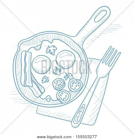 Fried eggs with bacon on frying pan. Fried eggs with bacon on frying pan hand drawn on white background. Fried eggs with bacon sketch illustration. Fried eggs with bacon vector illustration.
