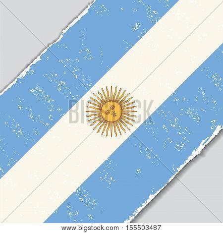 Argentinean grunge flag diagonal background. Vector illustration.