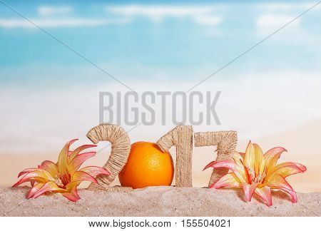 Orange instead of the number 0 in the amount of 2017 and the flowers in the sand against the sea.