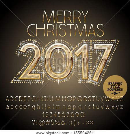 Vector chic glitter Merry Christmas 2017 greeting card with set of letters, symbols and numbers. File contains graphic styles