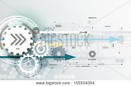 Vector abstract futuristic technology, gear wheel engineering and hexagon pattern on circuit board. Illustration hi-tech, electric digital technology on light grey color background