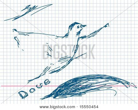 Hand drawn dove