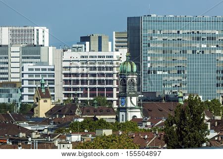 Aerial view of Basel architecture. Basel Basel-Stadt Switzerland.