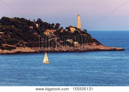 Cap Ferrat lighthouse in Saint Jean Cap Ferrat. Saint Jean Cap Ferrat French Riviera France.