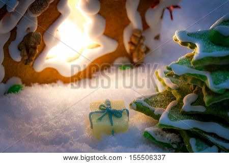 Marzipan Gift Under The Gingerbread Christmas Tree