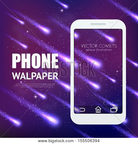 Meteor rain background with falling shining comets for mobile interface wallpaper vector illustration