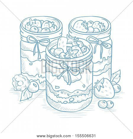 Jam in glass jars and fresh berries. Jam jar and berries hand drawn on white background. Jam jar and berries sketch illustration. Jam jar and berries vector illustration.