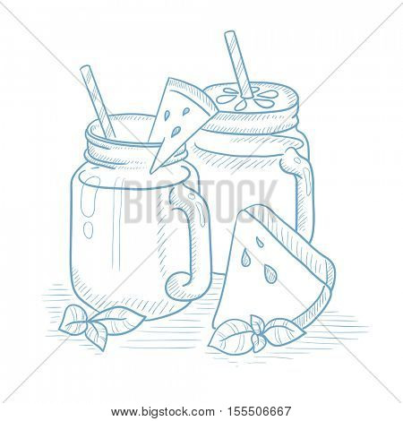 Watermelon smoothie in mason jar with mint and straw. Watermelon smoothie hand drawn on white background. Watermelon smoothie vector illustration. Watermelon smoothie sketch illustration.