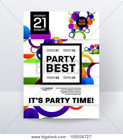 Party Flyer Template Design. Vector Illustration. Abstract Background with Liquid Bubbles Shapes.