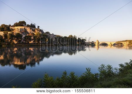 Pont Saint-Benezet and Rhone River in Avignon. Avignon Provence-Alpes-Cote d'Azur France.