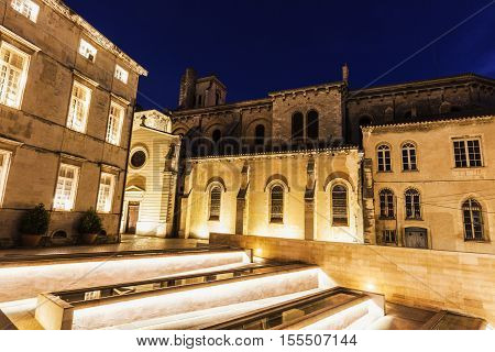 Notre-Dame-et-Saint-Castor Cathedral in Nimes. Nimes Occitanie France.