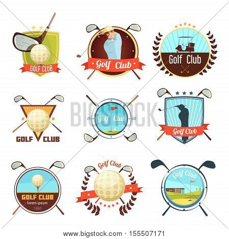 Popular golf clubs retro style labels collection with bag ball and player on course isolated vector illustration
