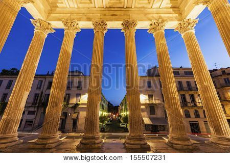 Maison Carree in Nimes. Nimes Occitanie France.