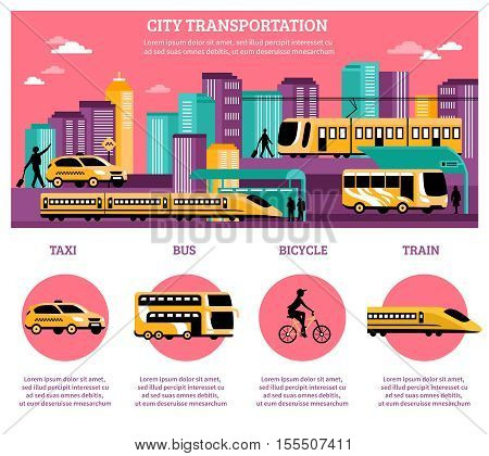 City transportation infographics layout with statistic information about different kinds of   transport so as taxi bus train and bicycle flat vector illustration
