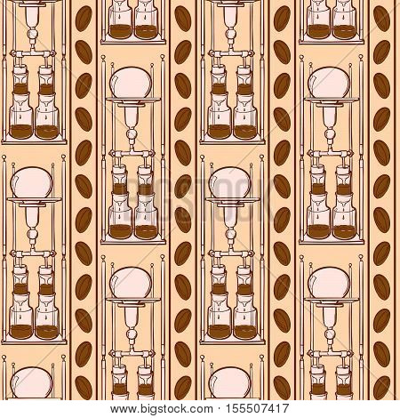 Kyoto coffee dripper and coffee beans seamless pattern. Doodle sketchy style. Vertical rhythm. EPS10 vector illustration.