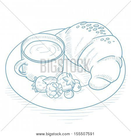 Breakfast with cup of coffee, croissant and berries on plate. Breakfast with cup of coffee and croissant hand drawn on white background. Breakfast sketch illustration. Breakfast vector illustration.