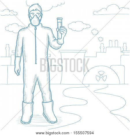 Worker of nuclear power plant wearing radiation protective suit. Man in radiation protective suit holding a test-tube with some liquid. Hand drawn vector sketch illustration on white background.
