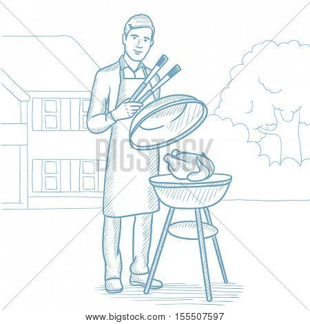 Caucasian man cooking chicken on barbecue grill in the backyard. Man having a barbecue party. Man preparing chicken on barbecue grill outdoor. Hand drawn vector sketch illustration on white background