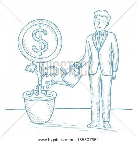 Businessman taking care of his finances and watering a money flower. Businessman investing money. Concept of investment and business growth. Hand drawn vector sketch illustration on white background.