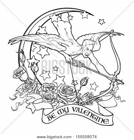 Flying sexy gay cupid with Moon and Roses. Text banner. Male pinup and art Nouveau eclectic style. St Valentine's day celebration design. Tattoo design. EPS10 isolated vector illustration