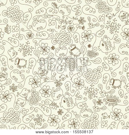 Vector beige Christmas seamless background - illustration