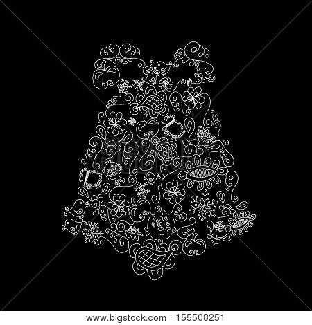Vector Christmas bell  on black background- illustration