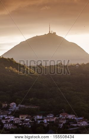 Puy-de-Dome volcano seen from Clermont-Ferrand. Clermont-Ferrand Auvergne-Rhone-Alpes France.