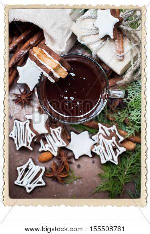 Tiny Chocolate Christmas Cookies in Star Shape with Icing Sugar on Cup Vintage Retro Photo Frame Isolated on White