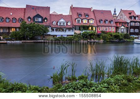 Old architecture of Bamberg along Regnitz River. Bamberg Bavaria Germany.