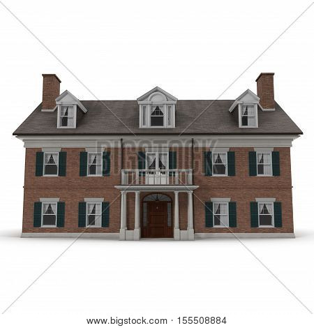 Colonial style reproduction home exterior on white background. 3D illustration