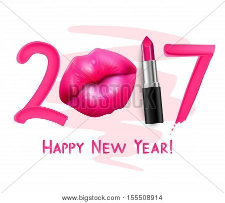 Winter 2017 trendy red tint lipstick new year greeting poster with beautiful full lips advertisement vector illustration