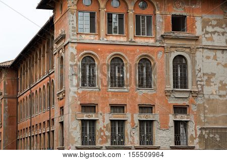 Windows of old house in Rome Italy