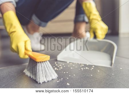 Woman Cleaning Her House