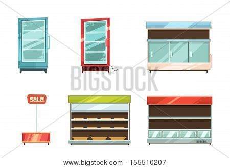 Supermarket and grocery stories display racks aisle refrigerator and sale stand retro cartoon icons collection isolated vector illustration