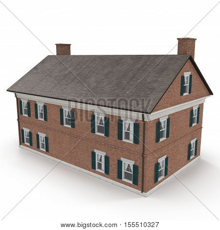 beautiful colonial home on white background. 3D illustration