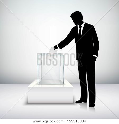 Voting election concept with man silhouette putting vote paper in the ballot box isolated vector illustration