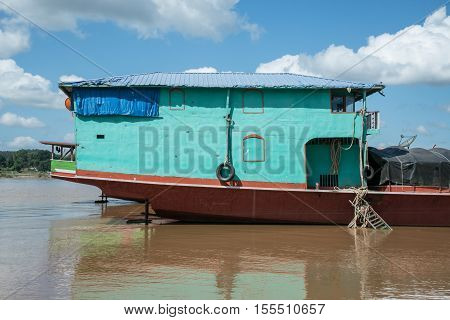 Stern of steel transportation boat in Mae Khong RiverLaos.