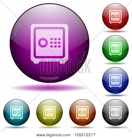 Strong box color glass sphere buttons with sadows.