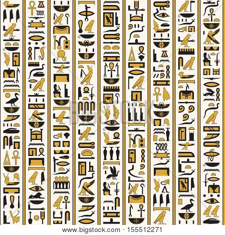Ancient egyptian hieroglyphs writing yellow-black color seamless