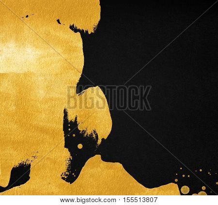 Dark background with gold paint inclusion. Abstract golden stain on black paper texture.