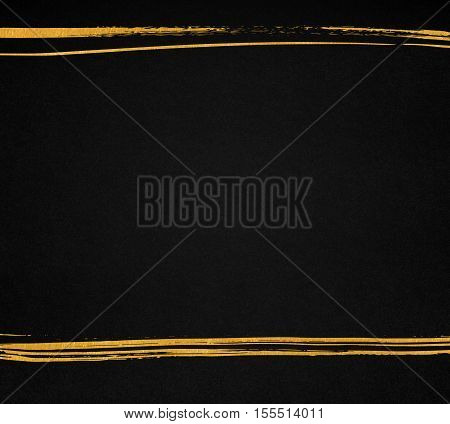 Black paper texture with hand drawn golden lines. Dark background with copyspace.