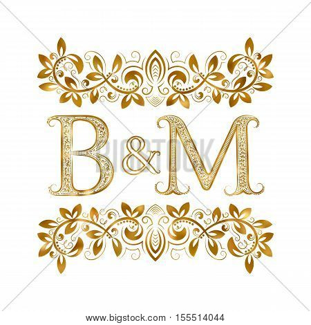 B&M vintage initials logo symbol. Letters B M ampersand surrounded floral ornament. Wedding or business partners initials monogram in royal style.