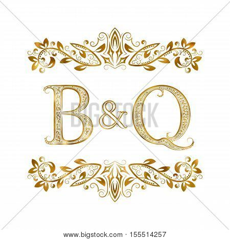 B&Q vintage initials logo symbol. Letters B Q ampersand surrounded floral ornament. Wedding or business partners initials monogram in royal style.
