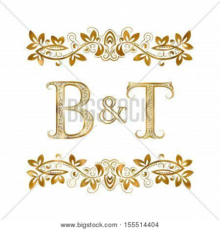B&T vintage initials logo symbol. Letters B T ampersand surrounded floral ornament. Wedding or business partners initials monogram in royal style.