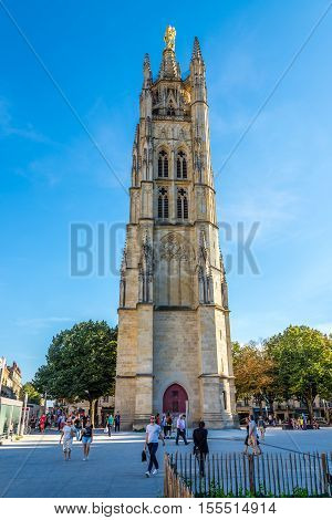 BORDEAUX,FRANCE - AUGUST 31,2016 - Bell Tower Pez Berland near Cathedral of Bordeaux. Bordeaux is the worlds major wine industry capital.