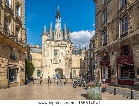 BORDEAUXF,RANCE - AUGUST 31,2016 - Street near Gate Cailhau - Porte Cailhau in Bordeaux. Bordeaux is the worlds major wine industry capital.